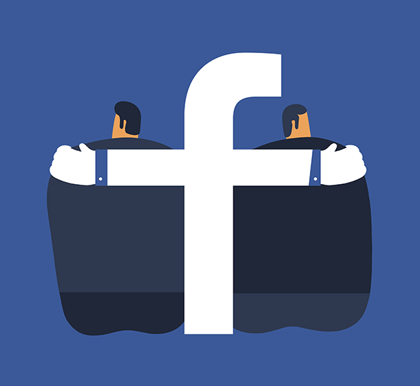 Magoz illustration - Relationships in facebook